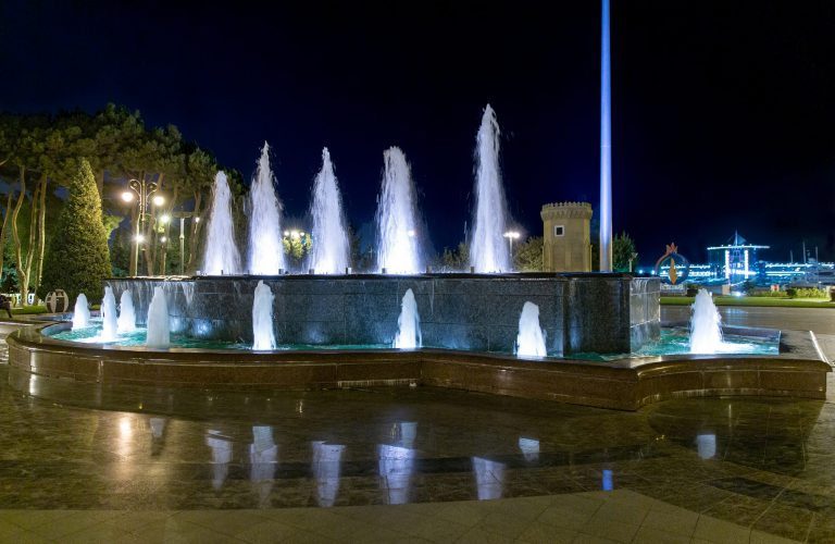 Night view of the fountain in front of the embankment of Baku. Azerbaijan.